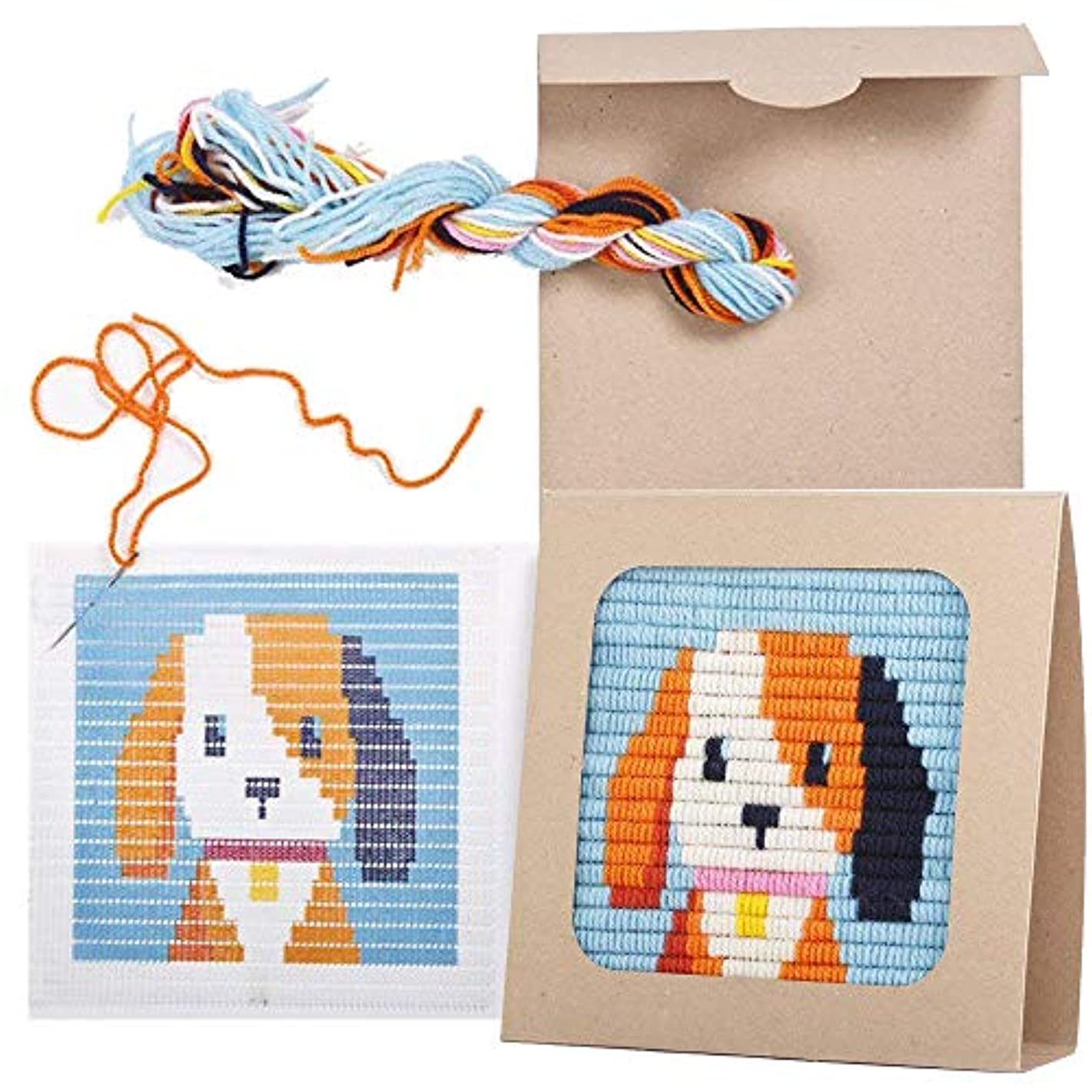 """Sozo - Colorful DIY Needlepoint Embroidery Craft Kit for Beginners. Eco Friendly Package That Turns into a Display Frame, Easier Than Cross Stitch. Size - 8"""" x 8"""" (Puppy)"""