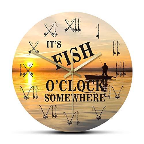 gongyu Es Fish O'Clock en algún Lugar Barco de Pesca Atardecer Paisaje Reloj de Pared Pescador caña de Pescar caña números Romanos decoración del hogar Reloj