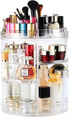 Rotating Makeup Organiser Storage – 360 Degree Design Transparent Cosmetics Jewelry Holder Stand, 38x26 cm Adjustable 4 Layered Diamond Patterned Skincare Make up Organizer Storage Box