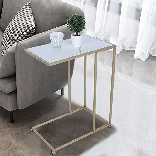 Ausla Mesita lateral de sofá, mesa consola en forma de C con estructura de mármol, mesa de café de apoyo con estructura de mármol, soporte de 20 kg, 48 x 61 x 30 cm