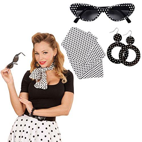 NET TOYS Rockabilly Kostüm Set mit Sonnenbrille, Ohrringe und Halstuch 50er 60er Jahre Bekleidung Rock n Roll Outfit Sixties Damenkostüm Accessoire Damen Kleidung Zubehör