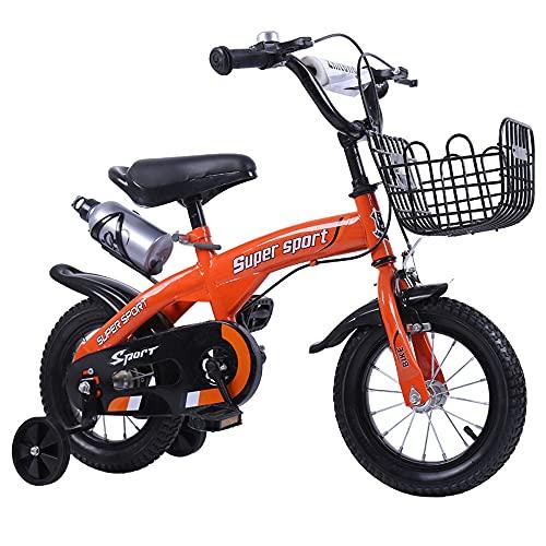 QSYY Bicicletas Infantiles, Triciclos Freestyle para Niños Y Niñas, 12 14 16 18 Pulgadas con Ruedas, Juego De Equitación con Portabultos Y Cestas, Apto para Niños De 2 A 11 Años,Naranja,14''