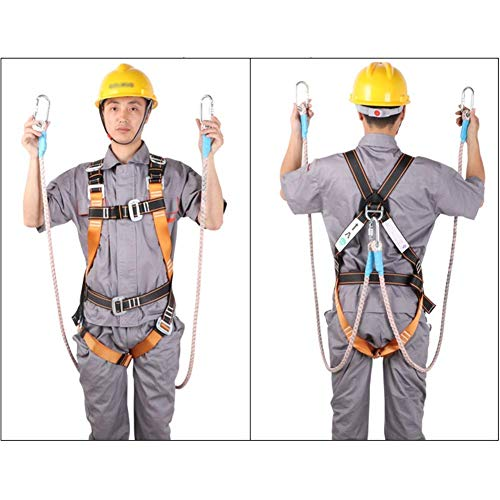 Arnés de seguridad, todo el Cuerpo de Protección Caída de seguridad 5 puntos ajustable for colgar doble punto sobre el hombro de alta Capacidad de carga con tampón Paquete for la construcción al aire