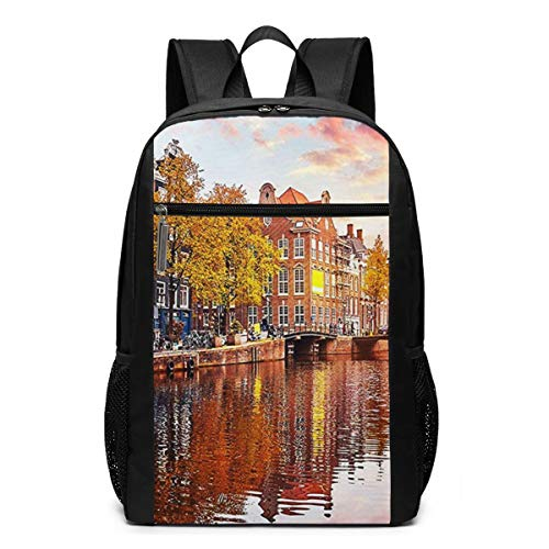 Schulrucksack Amsterdamer Grachtenhäuser, Schultaschen Teenager Rucksack Schultasche Schulrucksäcke Backpack für Damen Herren Junge Mädchen 15,6 Zoll Notebook