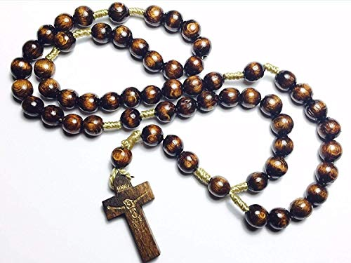 Holy Relic Rosary Touched to relics St Charbel Makhlouf St Anthony of Padua & St Jose Sanchez Rio patrons Lost Items Mexican Cristero Emigrant Immigrant Freedom America Mothers Day (Dark Brown)