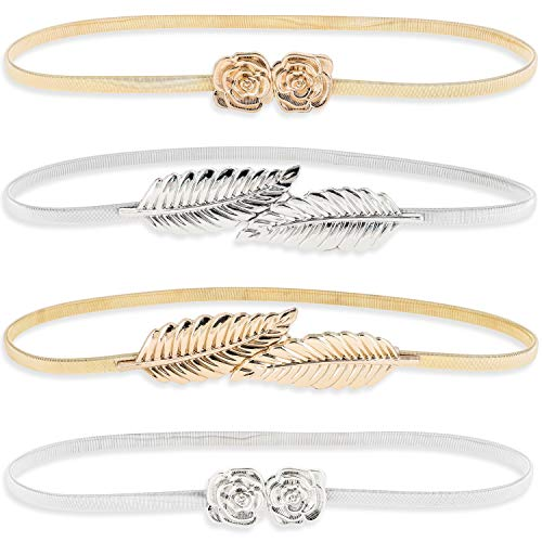 Juvale Women's Fancy Skinny Stretch Fashion Dress Belts, Silver and Gold (4 Pack)