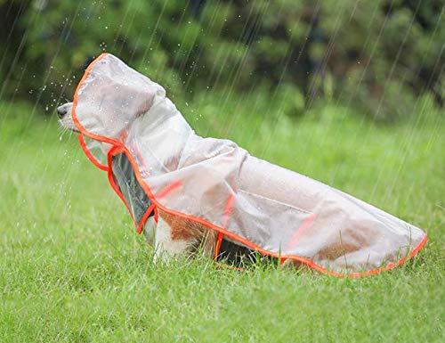 Maxjaa Dog Raincoat Transparent Waterproof EVA Pet Raincoat with Hood Dog Rainwear Clothes Hooded Pet Rain Cloak Adjustable Dog Poncho Raincoat with Harness Leash Hole for Small Medium Dogs Puppies