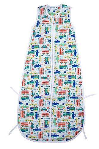 Schlummersack Bambus-Musselin Babyschlafsack für den Sommer 0.2 Tog - Autos - Jungen - 12-36 Monate/110 cm mitwachsend