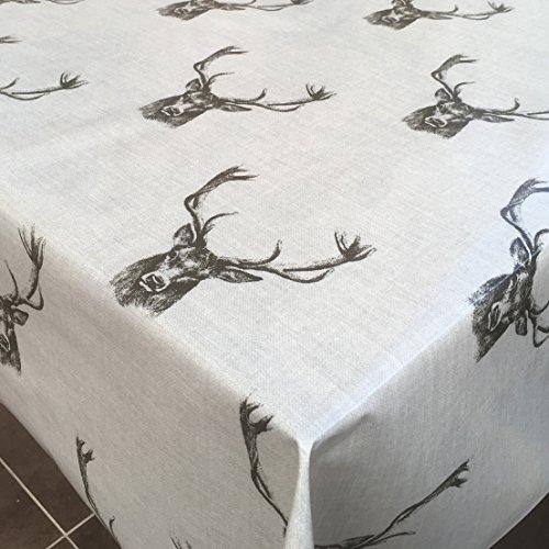 Franclaire Fabrics Nappe ronde en PVC facile à nettoyer Motif cerfs 130 cm de diamètre