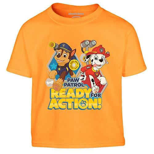 Chase e Marshall di Paw Patrol - Official Nickelodeon Maglietta per Bambini 1-2 Anni Arancione