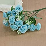 ypypiaol 1 Ramo De Flores Con 15 Cabezas Con Decoraciones Artificiales Para La Casa De Flores Rosas Decoraciones Para Fiestas Navideñas azul