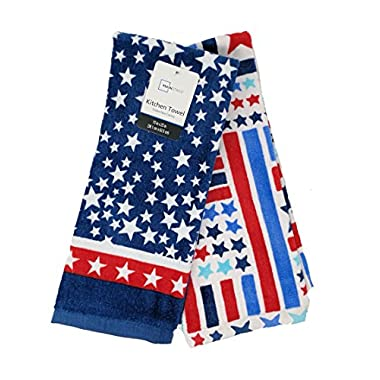 Mainstay Patriotic Kitchen Towels for 4th of July Stars and Stripes Set of 2