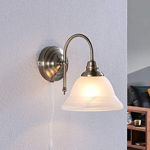 Lindby Wandleuchte, Wandlampe Innen 'Hanna' (Retro, Vintage, Antik) in Weiß aus Glas u.a. für Wohnzimmer & Esszimmer (1 flammig, E14, A++) - Wandstrahler, Wandbeleuchtung Schlafzimmer /