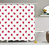 XIAOYI Valentine`s Day Shower Curtain, Cartoon Hearts with Arrows Love Passion and Romance Pattern, Cloth Fabric Bathroom Decor Set with Hooks, 60 * 72inch, Dark Coral Brown White