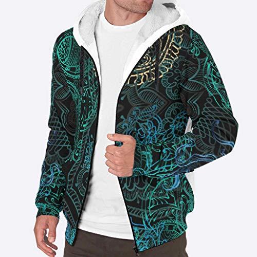 Bekende Heren Zip-Up Winter Fleece Sweatshirt met gevoerde Vrouwen Blauw Groen Paisley Gedrukt Hip-Hop - met Pocket Zachte & Gezellige Jas voor Coworker Present