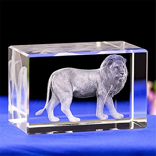 Crystal Lion Statue,3D Laser Etched Crystal Lion Figurine Art,Crystal Glass Cube Engraving for Home Decoration Birthday,Lion Ornaments Gifts (303040mm)