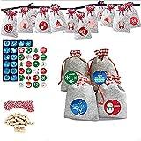 Keemov 1 juego de bricolaje 24 calendario de Adviento bolsa de tela con clips pegatinas cuerda de Navidad tela bolsas regalo regalo regalo Navidad bolsa de arpillera lino