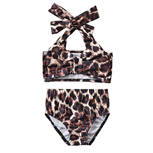 Aalizzwell Baby Girl Bathing Suit, Toddler Girls Two Piece Swimsuit Halter Top Bikini Bottoms Swimming Suit (Leopard, 2-3T)