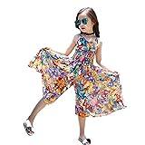Coconute Kleid Overall für Mädchen Langes Schmetterling Graffiti Strandkleid Ärmellos Schulterfrei Sommer Strandkleid Freizeit Tops Kleider Baby Mädchen von 3-12 Jahre
