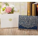 Sobres invitaciones Elegante encaje favor imprimir sobres fiesta de la boda decoración 1pcs Tarjeta de invitaciones de boda flora Oro Rojo Blanco Corte de lujo (Color : One Set Blue)