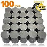 X-bet MAGNET  100 Stück Kühlschrankmagnete - 18x5 mm Magnete rund – Ferrit Magnete stark - Magnete Klein perfekt für Whiteboard, Pinnwand, Magnettafel, Haftmagnete, Kühlschrank Magnete
