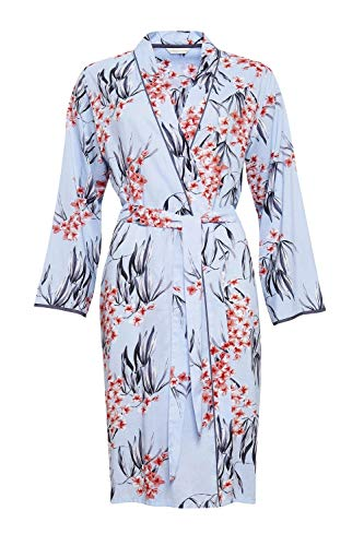 Cyberjammies 4393 Women's Olivia Blue Floral Print Cotton Robe