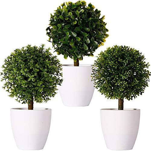 FagusHome 20cm Alto Plantas Artificiales en Maceta 3 Piezas árbol en Forma de Bola en Maceta boj Artificial plástico para decoración (F)