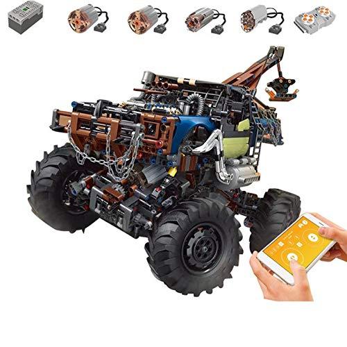 PEXL Technik Allrad Abschleppwagen, Ferngesteuert 4X4 Off-Road LKW Modell mit Motoren und Fernbedienung, 1507 Teile Klemmbausteine Technik Auto Bauset Kompatibel mit Lego Technik
