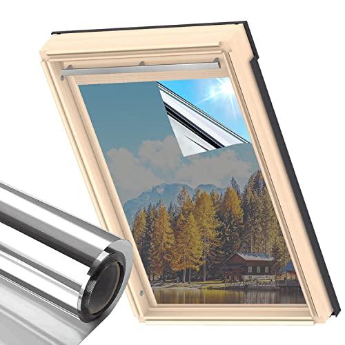 MUHOO 99% UV-Schutz Tönungsfolie, Spiegelfolie Fenster Innen & Außen, Sichtschutz Fensterfolie, 60 x 200 cm - Silber