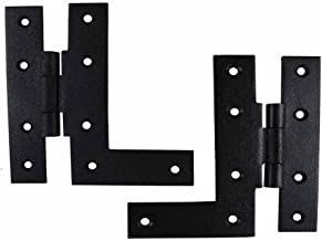 Renovators Supply Manufacturing H-L Cabinet Hinge Pair Black Wrought Iron Offset Rustproof RSF Finish Mounting Screws Included