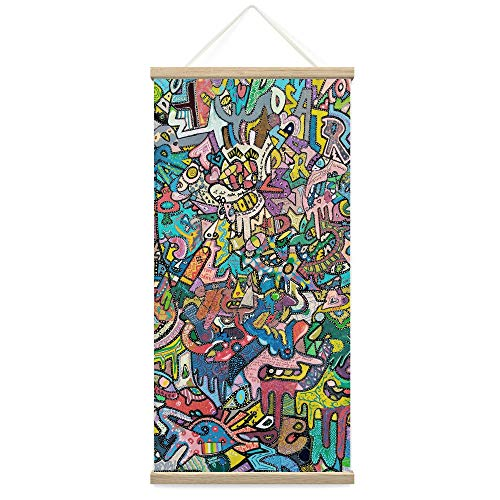 """Bestdeal Depot Hanging Poster Painted Designs Abstract Abstract Colorful Contemporary Hallway Mixed Media Multicolor Patterns Canvas Prints Wall Art for Living Room, Bedroom - 18""""x36"""""""
