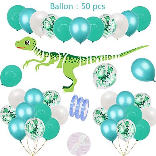 54 piezas de cumpleaños del dinosaurio decoración del partido azul para los niños Set:1 feliz cumpleaños Garland Banner,50 globos de helio para niños 1.3.5.7.9.10Junge fuentes del del partido de Dino