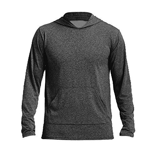 Gildan Mens Performance Hooded Long Sleeve T-Shirt (L) (Heather Sport Black)