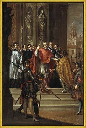 Berkin Arts Marco Juan De Valdes Leal Giclee Lienzo Impresión Pintura póster Reproducción Print(San Ambrosio y el Emperador Teodosio) #XLK