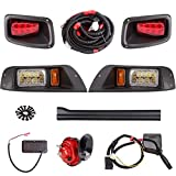 10L0L Deluxe Golf Cart LED Light Kit for EZGO TXT 1996-2013 12V Headlight Taillight Brake Light Horn Turn Signal Assembly Upgrade Replacement(Must Input 12 Volts)