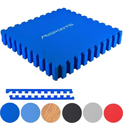 MSPORTS Bodenschutzmatten Set Premium - 8 Schutzmatten 3,175m² | Bodenschutz 60x60 cm | Stärke: 1,2 cm | Puzzlematten Gymnastikmatte (Königsblau)