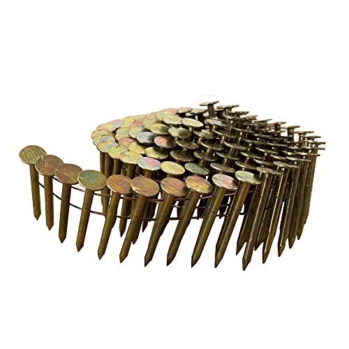meite 15 Degree Round Head 1-1/2-Inch × .120 Wire Weld Collated Smooth Shank Electro Galvanized Coil Roofing Nails 7,200 PCS/CASE (1 Box Pack)