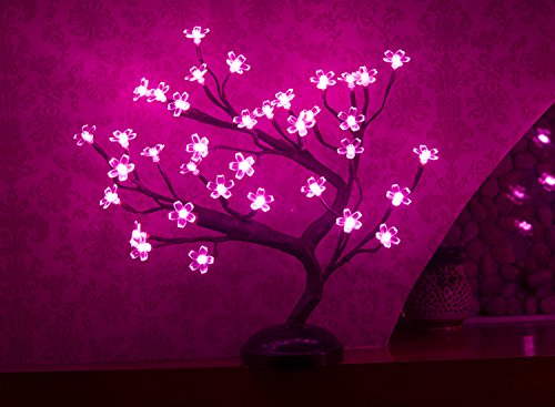 LIGHTSHARE 16Inch 36LED Cherry Blossom Bonsai Light, Pink Light, Battery Powered and Plug-in Adapter (Included), Built-in Timer, Décor for Home,Festival,Party,Christmas,Night Light