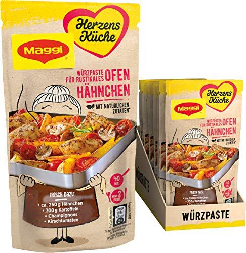 Maggi Herzensküche Rustikales Ofen-Hähnchen, Würzpaste für Ofen-Gerichte, Vegan, 10er Pack (10 x 65 g)