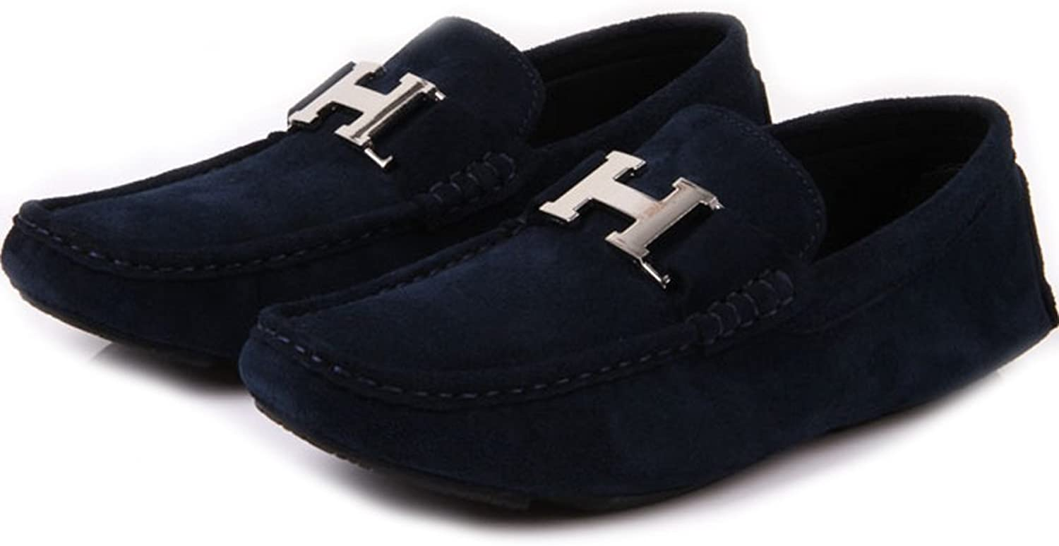 Fulinken Mens Leather Slip-on Casual Buckle Loafer Driving Mens Car shoes Moc shoes bluee