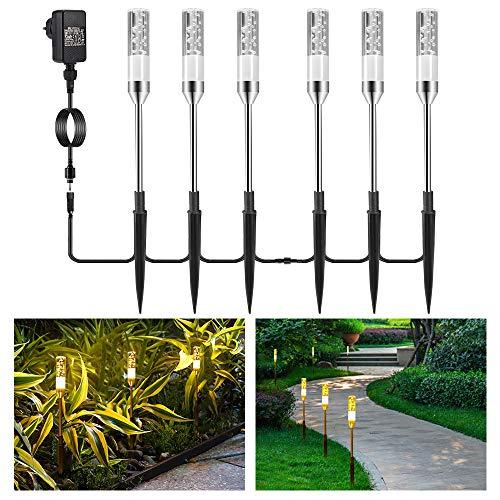 Gartenbeleuchtung B-right 6er Set Gartenleuchte mit Erdspieß, Außenleuchte mit Stecker, Landschaftslicht Wegleuchte Gartenlampe mit Kabel, 360lm, 2700K, IP65 Wasserdicht Außenbeleuchtung für Outdoor