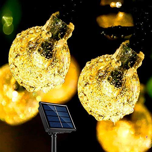 Solar Lichterkette Außen, PORTHOLIC 9.5 m 50 LED Lichterkette Aussen, 8 Modi, Intelligente Lichtempfindliche Steuerung, IP44 Wasserfest, 800 mAh Batterie für Hinterhof, Bäume, Partys usw