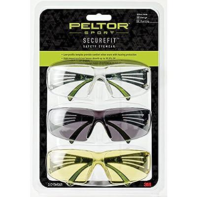 Peltor Sport SecureFit 400 Glasses, 3 Pack: Clear + Amber + Gray Lenses, Anti Fog