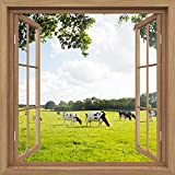 YuWoll Canvas Prints Wall Art – Meadow Window Scene – 12'' x 12'' x1 Panel Canvas Picture Stretched Solid Wooden Frame Ready to Hang Canvas Printing Hanging Wall Deco Picture Posters
