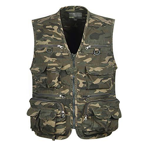 GAOHONGMEI Männer Sportweste Gilet Outdoor Camouflage Multi Taschen Fotografie Weste Sleeveless Jacken Angeln Camping Oberbekleidung 001-4XL