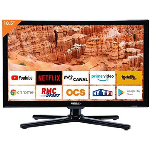 ANTARION Téléviseur 19' (48cm) Bluetooth Connect Netflix RMC Sport Camping Car Bateau 12/24/220V Smart TV LED