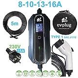 evplug / Cargador EV portatil Coche electrico PHEV | Potencia Variable | 3.6 kW / 7.4kW | Typ 2 IEC 62196-2 - Typ 1 SAE J1772 | 5 m | Compatible ZOE, Kona, E-208, 3, ID.3, MII, etc