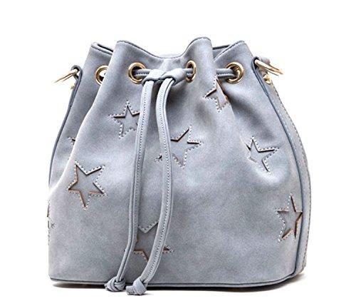 Di Grazia Women's Designer Bucket Shoulder Sling Handbag (Grey, Grey-Star-Bucket-Handbag)