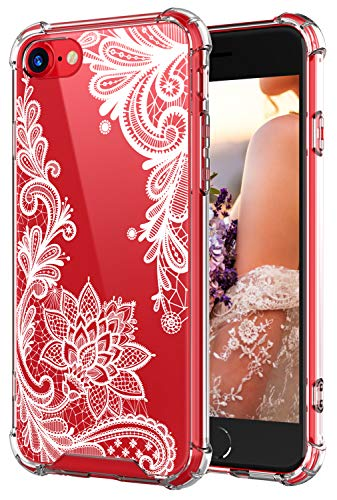 Cutebe Clear Case for iPhone SE 2020,Shockproof Series Hard PC+ TPU Bumper Protective Case for iPhone SE 2nd Generation/iPhone 7/iPhone 8 (White Floral Design) for Women,Girls