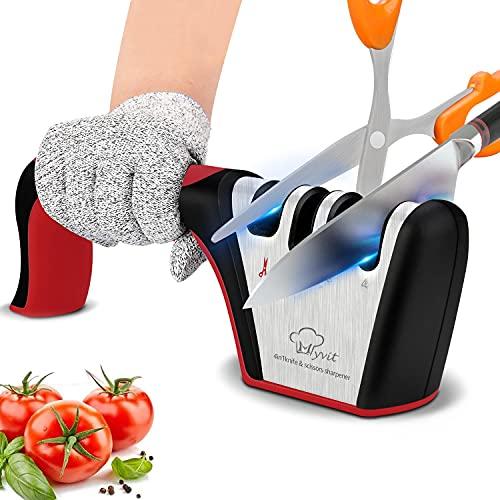 MYVIT Afilador de cuchillos profesional 4 en 1 para afilar cuchillos de cocina manual afilador de cuchillos manual con diseño antideslizante y ergonómico para uso doméstico y chef (Rojo negro)